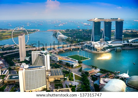 SINGAPORE-MARCH 19 : Marina Bay Sands Resort Hotel on March 19, 2012 in Singapore. It is billed as the world's most expensive standalone casino property at S$8 billion.