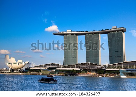 SINGAPORE -MARCH 23: Marina Bay Sands, World's most expensive standalone casino property in Singapore at S$8 billion on March 24, 2014