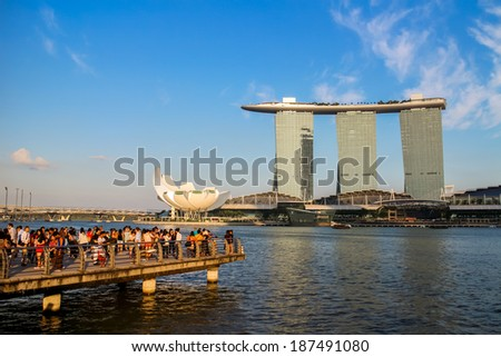 SINGAPORE -MARCH 23: Marina Bay Sands, World's most expensive standalone casino property in Singapore at S$8 billion on March 23, 2014