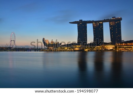 SINGAPORE - March 27, 2014: Marina Bay Sands, World's most expensive standalone casino property in Singapore at S$8 billion on March 27, 2014