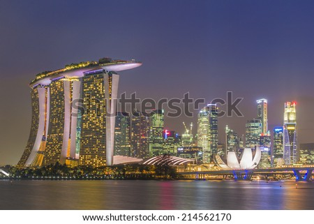 SINGAPORE - MARCH 1 : Singapore cityscape during sunset on MARCH 1, 2014 in Singapore. - stock photo