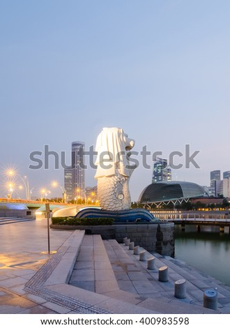 SINGAPORE - March 21 : The Merlion is an imaginary creature with a head of a lion and the body of a fish and is often seen as a symbol of Singapore. - stock photo