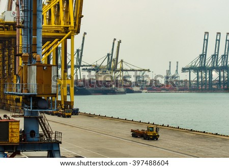SINGAPORE - MARCH 24, 2016 : Transport cargo less in Port Keppel, Singapore - stock photo