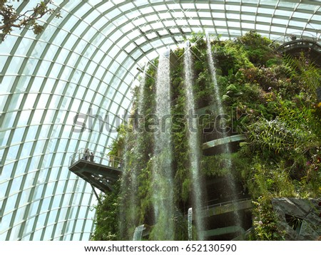 singapore march 27 2016 waterfall in cloud forest at gardens by the bay