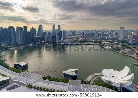 Singapore Marina bay and Central Business District aerial view