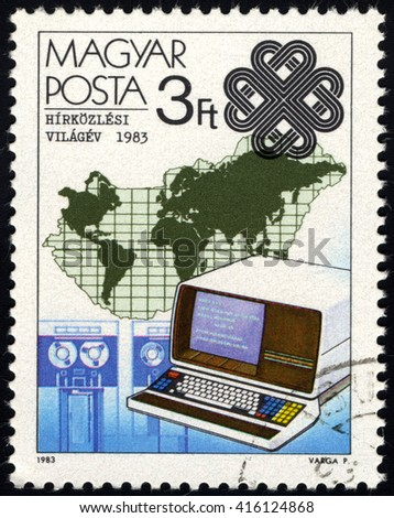 SINGAPORE â?? MAY 6, 2016: A stamp printed in Hungary shows Teletext and Map, circa 1983 - stock photo