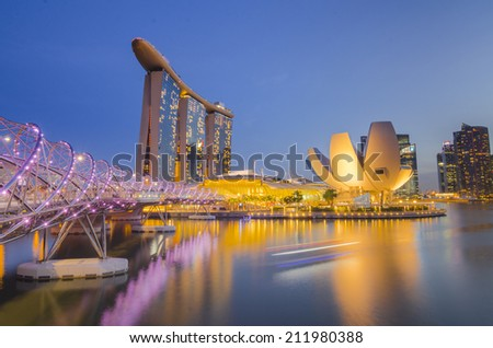 SINGAPORE - MAY 12: Art Science Museum on May 12, 2014 in Singapore. Attractions at Marina Bay Sands. Museum area 6,000 square meters. - stock photo
