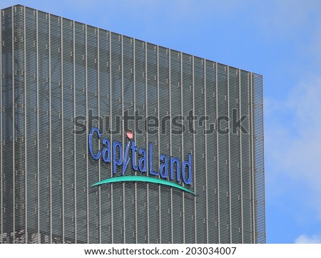 SINGAPORE - 28 May, 2014: Capitaland company logo. Capitaland is a Singapore based real estate company and one of the largest in Asia.