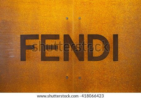 SINGAPORE - MAY 01 : Fendi logo sign at Marina Bay Sands, It's Italian luxury fashion house whose specialities include ready-to-wear, leather goods, shoes, etc. Founded in 1925 in Rome on May 01, 2016