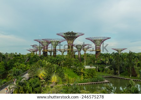 SINGAPORE - MAY 12: Gardens by the Bay on Mar 12, 2014 in Singapore. Gardens by the Bay was crowned World Building of the Year at the World Architecture Festival 2012 - stock photo