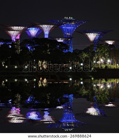 SINGAPORE - MAY 14: Gardens by the Bay on May 14, 2013. The Gardens by the Bay is a park spanning 101 hectares (250 acres) of reclaimed land in central Singapore - stock photo