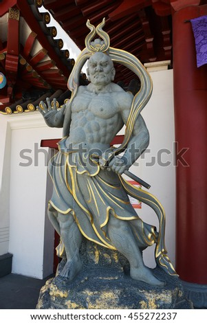 SINGAPORE - 07 MAY 2016: Gate Guardians in front of the Buddha Tooth Relic Temple.