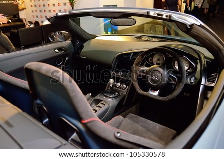 SINGAPORE - MAY 18: Interior of Audi R8 GT Spyder on display at Audi Fashion Festival 2012 on May 18, 2012 in Singapore - stock photo