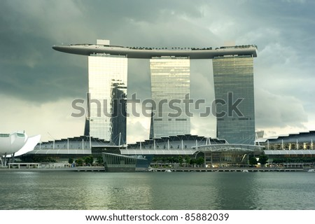 SINGAPORE - MAY 02: Marina Bay Sands Resort at sunset on May 02, 2011 in Singapore. It is billed as the world's most expensive standalone casino property at S$8 billion