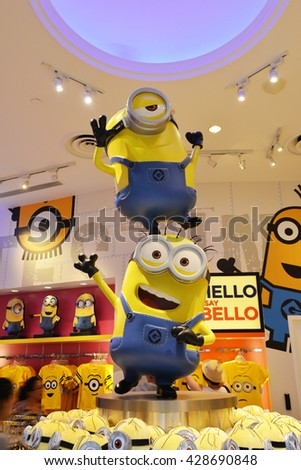 SINGAPORE - 06 MAY 2016: Minion Model in the Minion Mart at Universal Studios - stock photo