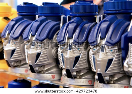 SINGAPORE - 06 MAY 2016: Optimus Prime Robot Head Bottles at Universal Studio