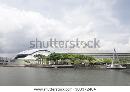 SINGAPORE - MAY 25, 2015: Say scene of Singapore National Stadium. Singapore National Stadium is a 55,000 seats multi-purpose arena which has a retractable roof.