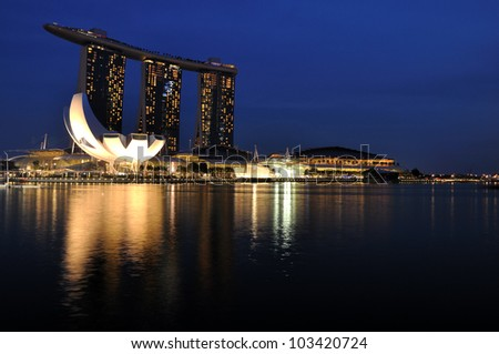 SINGAPORE-MAY 17: The Marina Bay Sands Resort Hotel on May 17, 2012 in Singapore. It is an integrated resort and the worlds most expensive standalone casino property at S$8 billion.