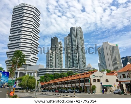 Singapore - 29 May 2016; The new office and shopping area on Jin sultan street at Singapore.