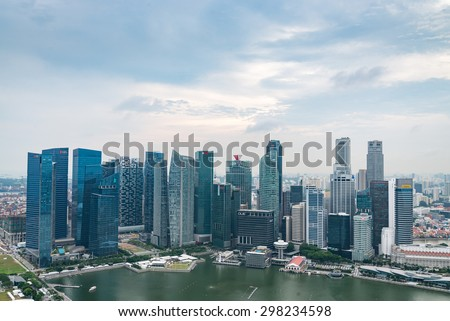 SINGAPORE - May 23, 2015:View from the infinity pool at Marina Bay Sands