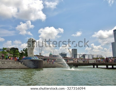 SINGAPORE - MAY 9, 2015 : View of Merlion Statue was taken from Marina Bay. Merlion used as a mascot and national personification of Singapore.