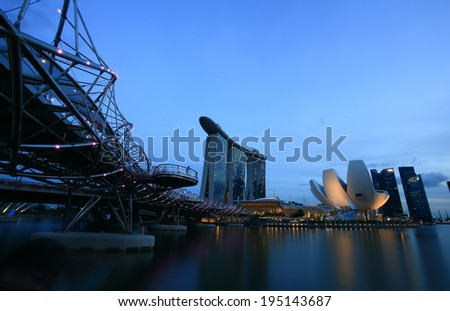 SINGAPORE - May 10: View of skyscrapers in Marina Bay on May 10, 2014 in Singapore. Singapore is the world