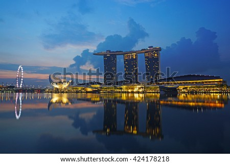 SINGAPORE - MAY 17, 2016: Views of the Marina bay area in the morning.