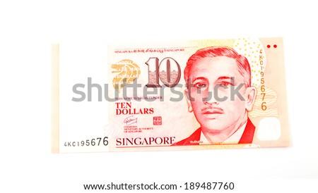 Singapore money on the white background - stock photo
