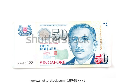 Singapore money on the white background