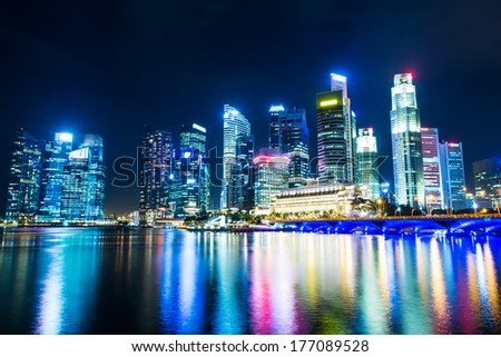 Singapore night - stock photo