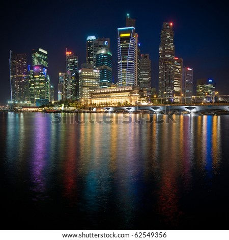 Singapore: night view with water reflections