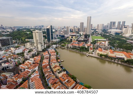 Singapore, 11 Nov 2012: Aerial view of metropolitan city landscape.