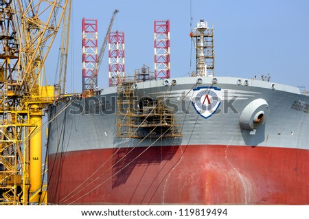 SINGAPORE-NOV 18: Dayview of Sembawang Shipyard. It is located in Sembawang & close to Sembawang MRT (NS11) on Nov 18, 2012 in northen Singapore. It is a wholly owned shipyard of Sembcorp Marine Ltd. - stock photo