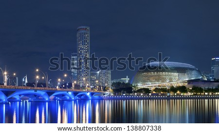 SINGAPORE - NOV 05 : Esplanade Theatres on the Bay at night on Nov 05, 2012 in Singapore. Esplanade Theatres on the Bay is a building located on six hectares land alongside Marina Bay.