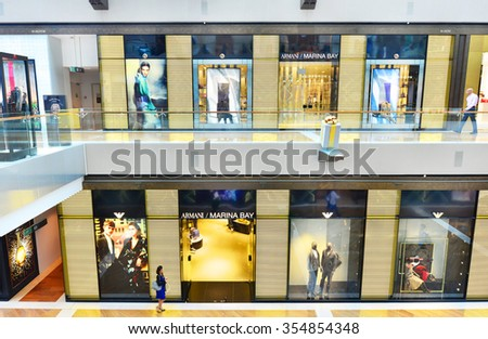 SINGAPORE - NOV 19: Front view of Giorgio Armani in Marina Bay Sands Shopping mall, Singapore on November 19, 2015. It is an international Italian fashion house founded by Giorgio Armani.