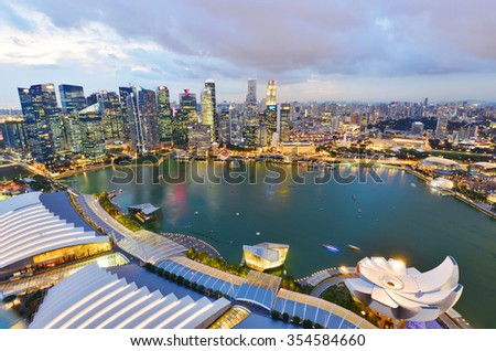 SINGAPORE-NOV 18: Landscape of the Singapore skyline on November 18, 2015. financial district and business building - stock photo