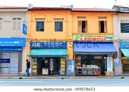 SINGAPORE - NOV 17: Little India district on November 17, 2015 in Singapore. Little India is Singaporean neighborhood east of the Singapore River