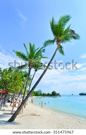 SINGAPORE -NOV 18 :Siloso Beach at Sentosa Island, Singapore, Nov 18, 2015, Siloso Beach is favorite beach with coolest bars and restaurants located in the Island of Sentosa.