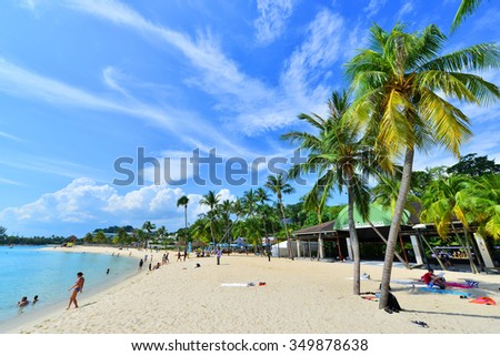 SINGAPORE -NOV 18 :Siloso Beach Statue Landmark of Sentosa Island, Singapore, Nov 18, 2015, Siloso Beach is  favorite beach with coolest bars and restaurants located in the Island of Sentosa.