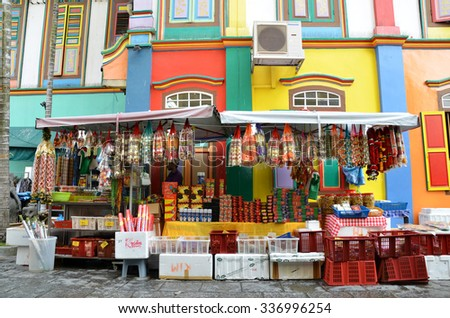 SINGAPORE - NOV 07, 2015: The colorful house of Tan Teng Niah in Singapore's Little India. This eight-room Chinese villa was built by prominent Chinese businessman Tan Teng Niah in 1900.