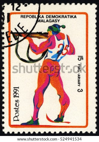 SINGAPORE â?? NOVEMBER 29, 2016: A stamp printed in Madagascar shows a series of images of the Winter Olympic Games, circa 1991