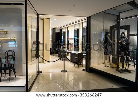 SINGAPORE - NOVEMBER 08, 2015: interior of Chanel store. Chanel S.A. is a high fashion house that specializes in haute couture and ready-to-wear clothes, luxury goods and fashion accessories