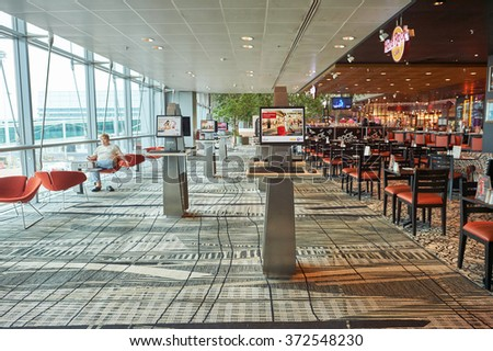 SINGAPORE - NOVEMBER 04, 2015: interior of Changi Airport. Singapore Changi Airport, is the primary civilian airport for Singapore, and one of the largest transportation hubs in Southeast Asia