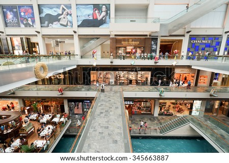 SINGAPORE - NOVEMBER 08, 2015: interior of The Shoppes at Marina Bay Sands. The Shoppes at Marina Bay Sands is one of Singapore's largest luxury shopping malls