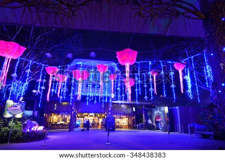 SINGAPORE- NOVEMBER 27, 2015: Nightview of Mystica Decorations at Night Safari, Singapore. Theme of this year is Be enchanted by a world of magical lights.