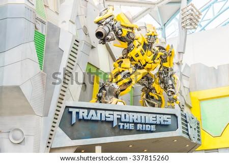 SINGAPORE - November 7: Tourists and theme park visitors Attraction in Universal Studios at Singapore on November 7, 2015 in Sentosa island, Singapore - stock photo