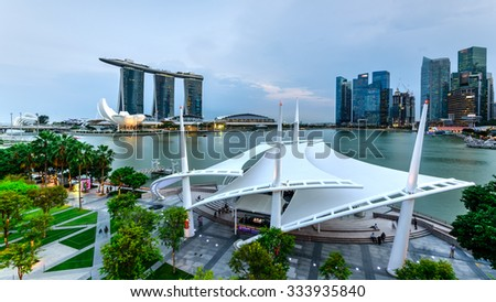 SINGAPORE   OCT 29, 2015: Esplanade Outdoor Theatre roof on Marina Bay at sunset. This area hosts a diverse range of performances from music to dance and theatre. ArtScience, Marina Bay Sands, CBD