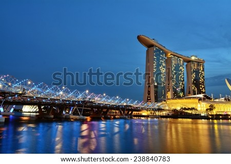 SINGAPORE - Oct 13, 2013: Marina Bay Sands is an integrated resort fronting Marina Bay in Singapore. It is the world's most expensive building, at US$ 4.7billion, including the cost of the prime land.
