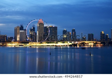 SINGAPORE - 02 OCT, 2016: Modern buildings of Singapore skyline landscape in business district