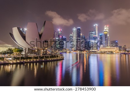 SINGAPORE-OCT 6 : Singapore Skyline and view of Marina Bay - stock photo